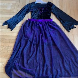 3 pc witch costume includes skirt, cape, wig &nose